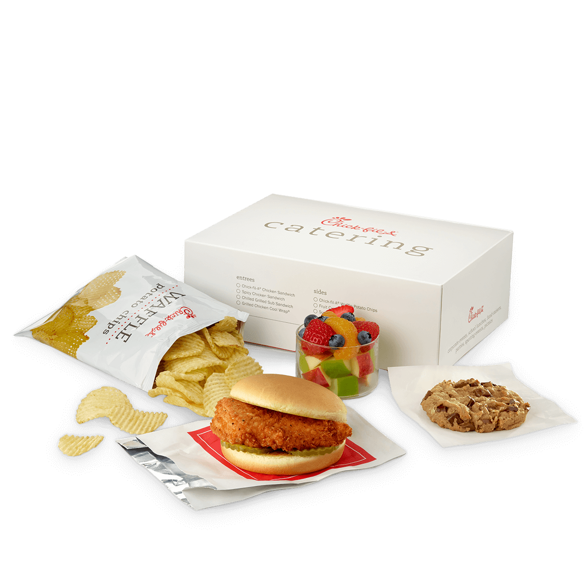 Packaged Meals. Chick fil A offers 4 of their signature menu items for purchase as a packaged meal for catering. You can choose between Chick fil A classic Chicken Sandwich, Spicy Chicken Sandwich, Grilled Chicken Cool Wrap, or Chicken Salad Sandwich.